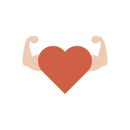 Isolated heart pulse with hand muscle icon flat design