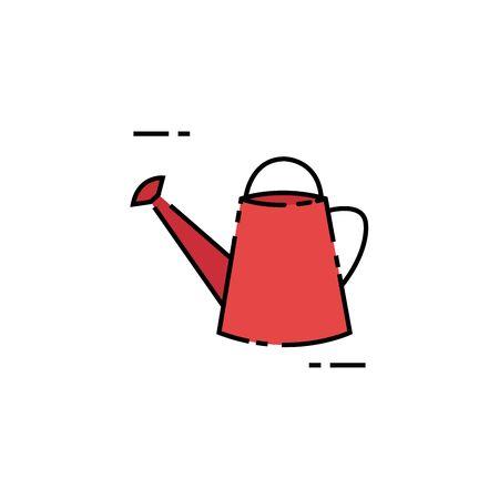Disegno di riempimento dell'icona dell'utensile dell'annaffiatoio isolato Vettoriali