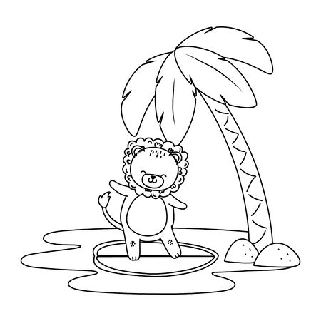 cute lion enjoying summer time cartoon