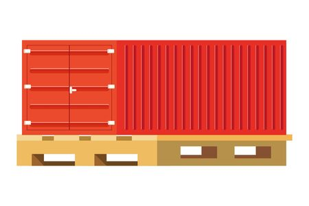 cargo container over pallets vector illustration