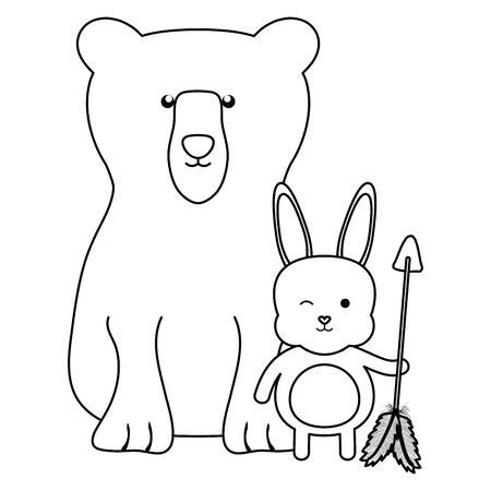 bear grizzly and rabbit with arrow bohemian style Illustration