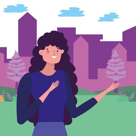 Avatar woman in park vector design vector illustration Stock Illustratie