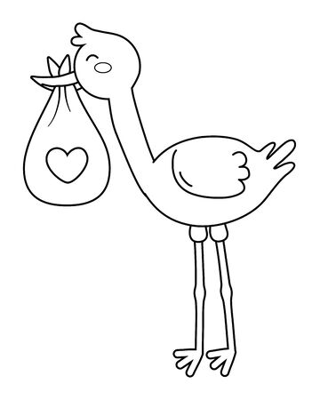 stork carrying a bag with heart in black and white Illustration