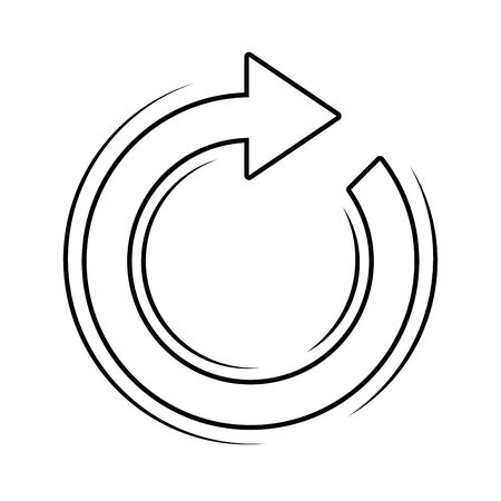 round arrow icon in black and white