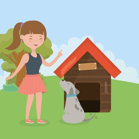 smiling girl with her dog and house pet care