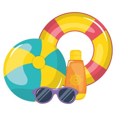 float lifeguard with blocker solar and sunglasses Ilustración de vector