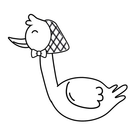 stork with bandana in black and white Illustration