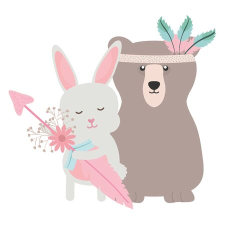 bear grizzly and rabbit with feathers hat and arrow
