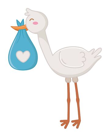 stork carrying a bag with heart vector illustration Illustration