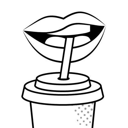 lips drinking soda black and white