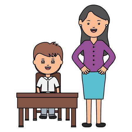 cute little student boy with female teacher in schooldesk