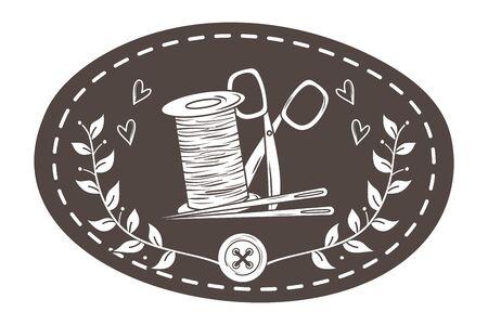 Scissor needle and thread of tailor shop design Ilustracja
