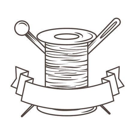 Isolated tailor shop thread and needle design