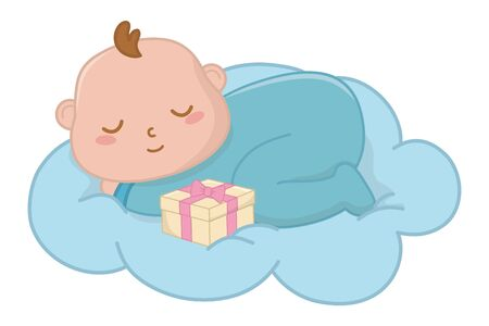 baby sleeping on a cloud vector illustration Vetores