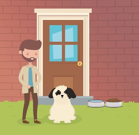 man with the dog sitting in the house garden pet care Ilustrace