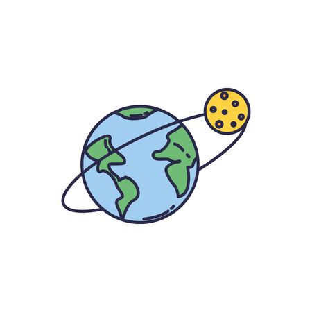 universe world planet with moon fill style