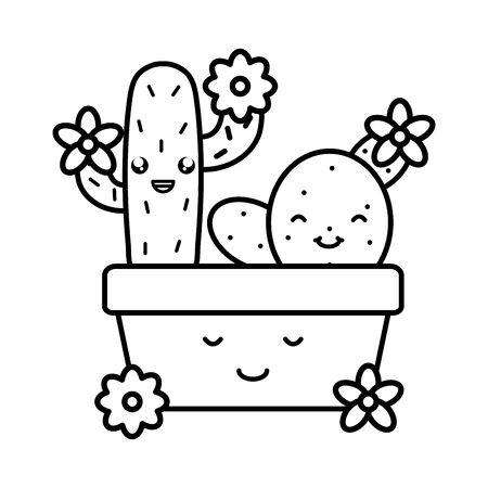 cactus and flowers in ceramic pot
