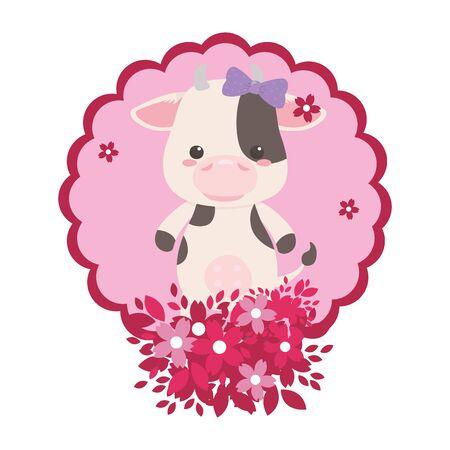 cow cartoon with bowtie design