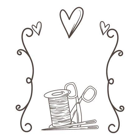 Scissor needle and thread of tailor shop design Illustration