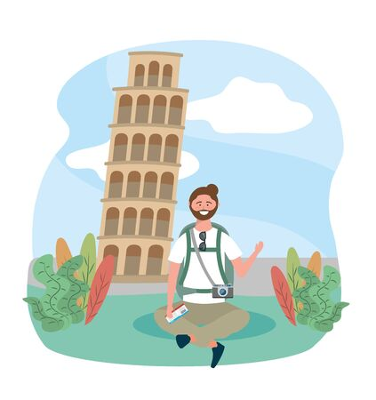 travel man sitting with backpack and leaning tower of pisa destination