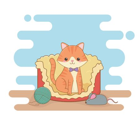 cute little cat mascot in bed with wool roll and mouse Illustration