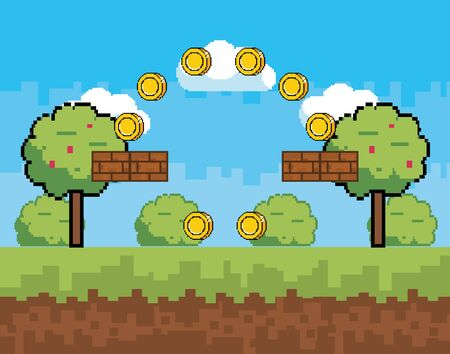 Arcade game world and pixel scene design  vector illustration