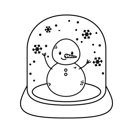 crystal ball snowman celebration merry christmas thick line Ilustrace