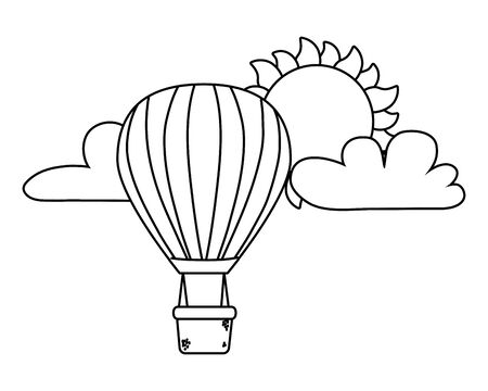 hot air balloons flying in black and white