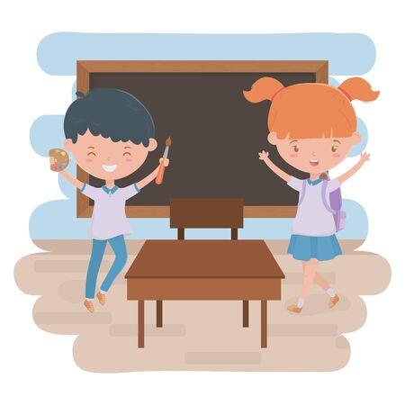 Boy girl kid and blackboard of school design