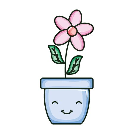 beautiful flower with leafs in ceramic pot kawaii character