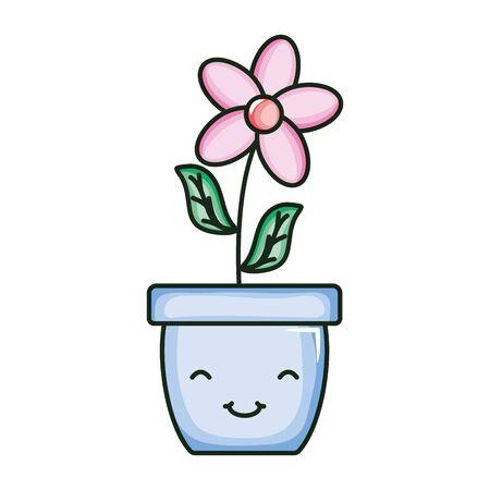 beautiful flower with leafs in ceramic pot kawaii character Stock fotó - 134306831