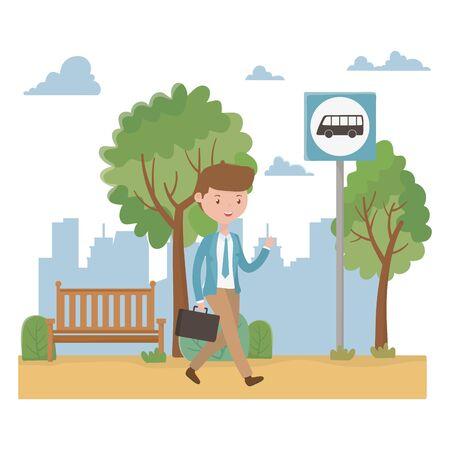 man cartoon and bus stop design Ilustracja