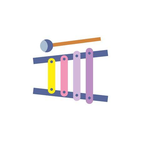 icona di stile piatto xilofono giocattolo