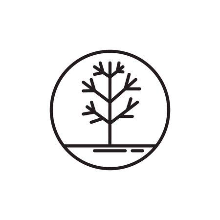 tree dry line style icon