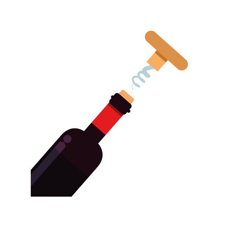 wine bottle with corkscrew flat style icon