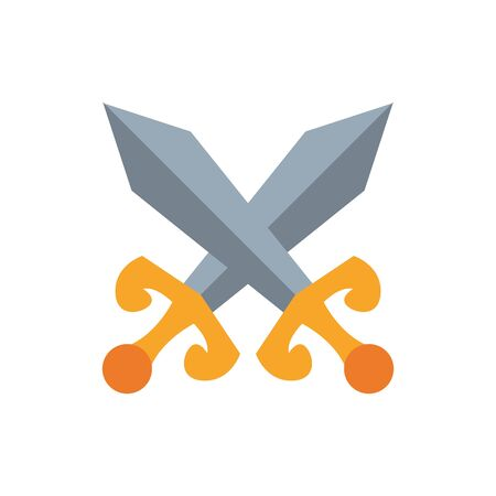 medieval swords crossed flat style icon