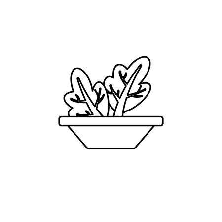vegetable chard in bowl line style icon Çizim