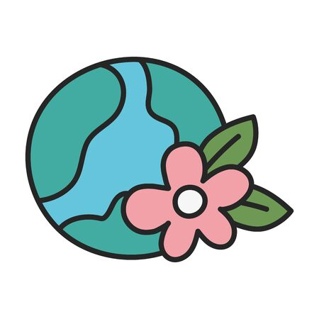 Isolated planet and flower design