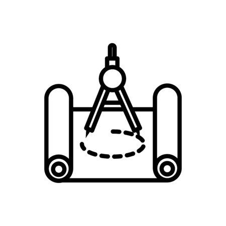 compass plan design architecture icon line style