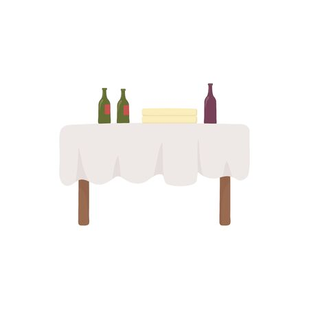 Isolated wine bottles over table vector design 向量圖像