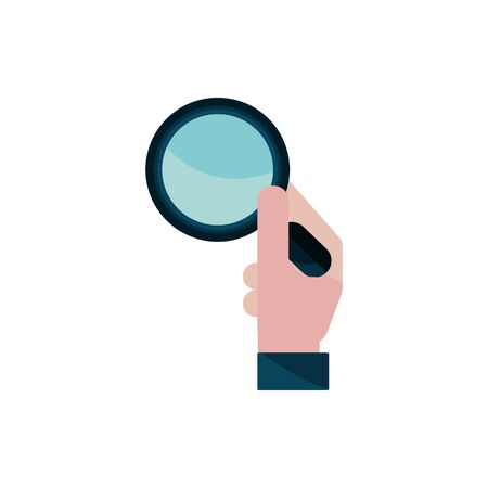 hand with magnifier property intellectual copyright icon