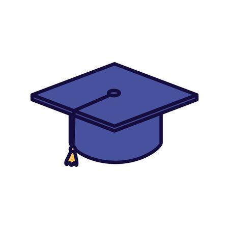 Abschlusshut Schulbildung online lernen Vektor-Illustration