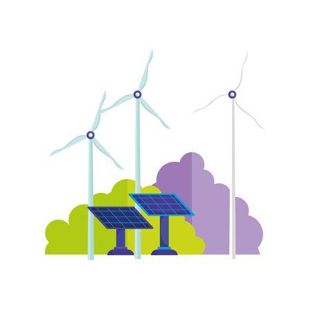 ecology wind turbine and solar panels energy 向量圖像