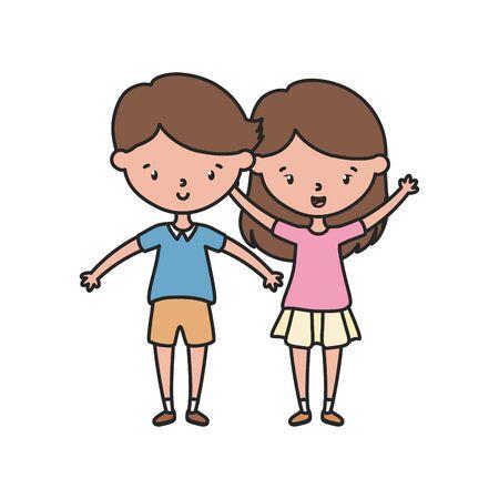 Girl and boy cartoon vector design