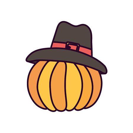 happy thanksgiving day pumpkin with pilgrim hat Ilustracja