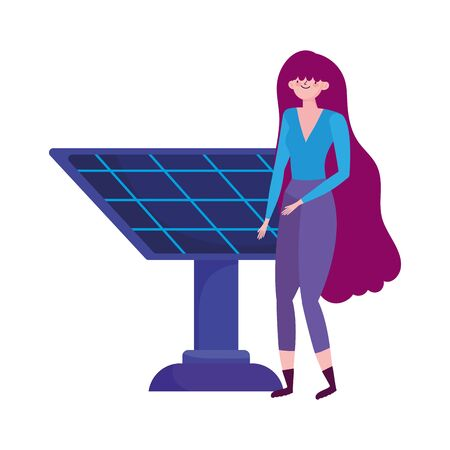 ecology young woman with solar panel alternative 向量圖像