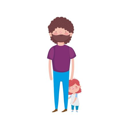 father and little daughter standing on white background