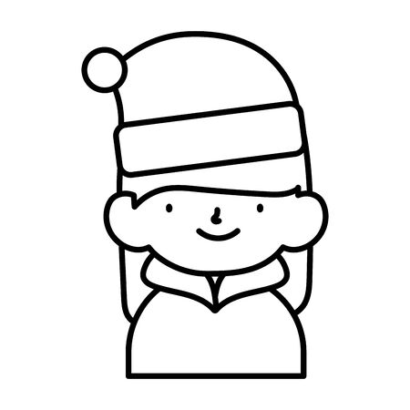 merry christmas little girl with hat of santa thick line