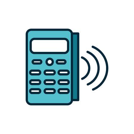 pos terminal payment internet of things line and fill icon Vektoros illusztráció