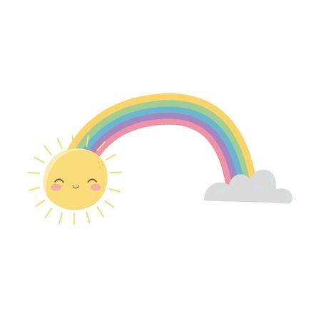 Rainbow with clouds vector design